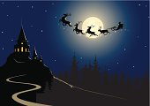 Vector illustration of Santa riding his sleigh.