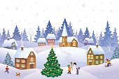 Vector cartoon illustration of a Christmas scene in a small snowy town with playing kids.