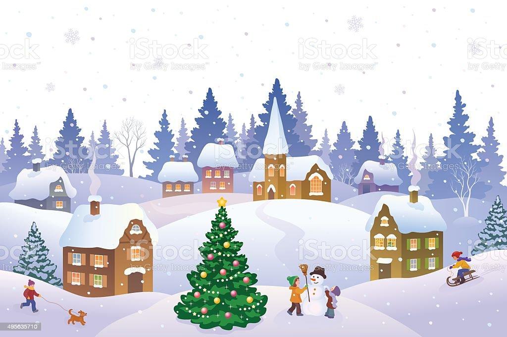 Christmas landscape vector art illustration