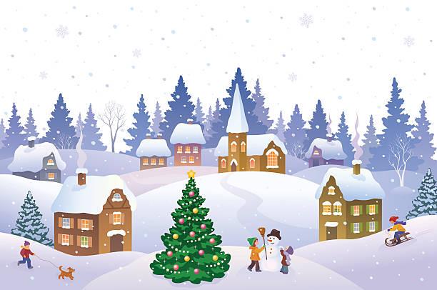 Royalty Free Winter Village Clip Art, Vector Images ...