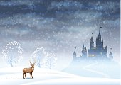 Christmas Landscape Winter Castle