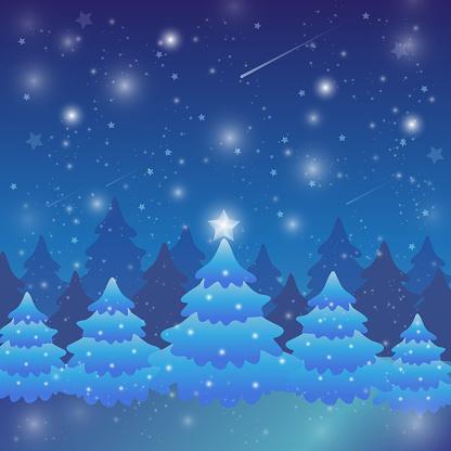 Christmas landscape winter magic night before Christmas