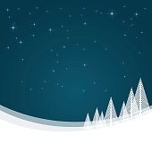 Christmas landscape with snow and winter stars background. Hires JPEG (5000 x 5000 pixels) and EPS10 file included.