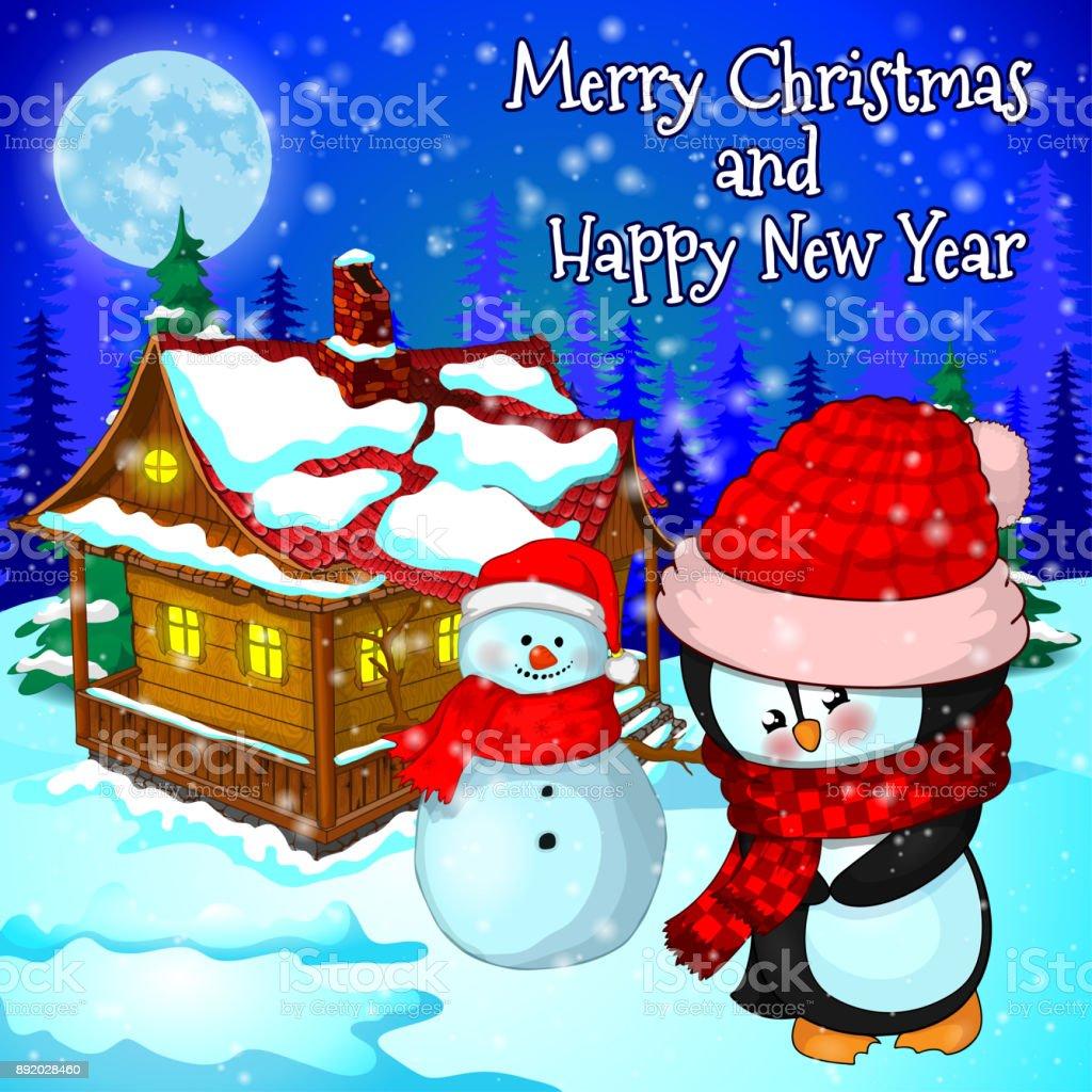雪森家の雪だるまペンギンのクリスマス風景 イラストレーションの