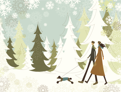 Christmas landscape with walking couple