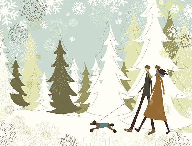 Christmas landscape with walking couple vector art illustration