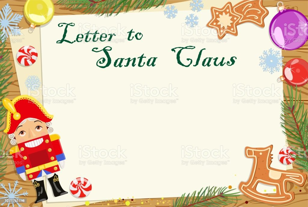 Vector Christmas letter wish from children to Santa Claus. Christmas...