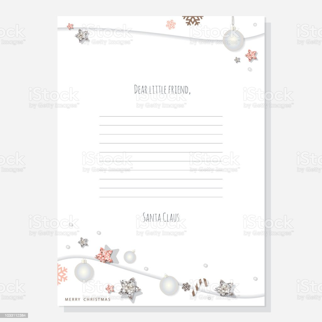Christmas Letter From Santa Claus Template A4 Decorated With Glitter