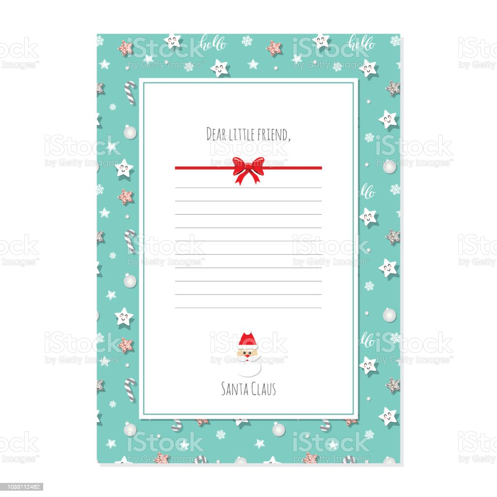 Weihnachtsbrief Von Weihnachtsmann Vorlage A4 Stock Vektor Art Und