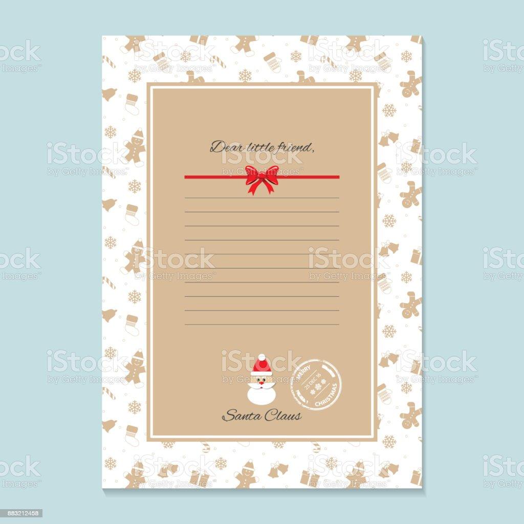 Weihnachtsbrief Von Weihnachtsmann Vorlage In Goldenen Trendfarben