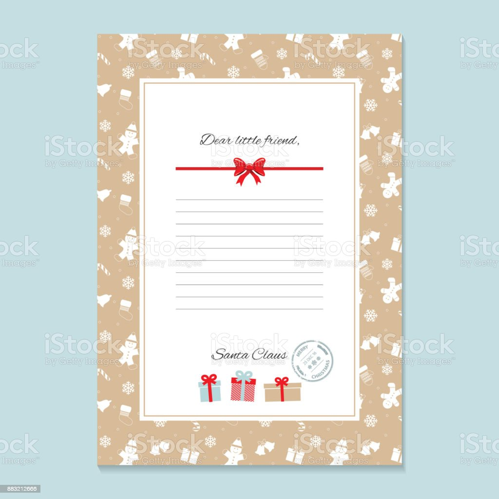 Christmas Letter From Santa Claus Template In Golden Trendy