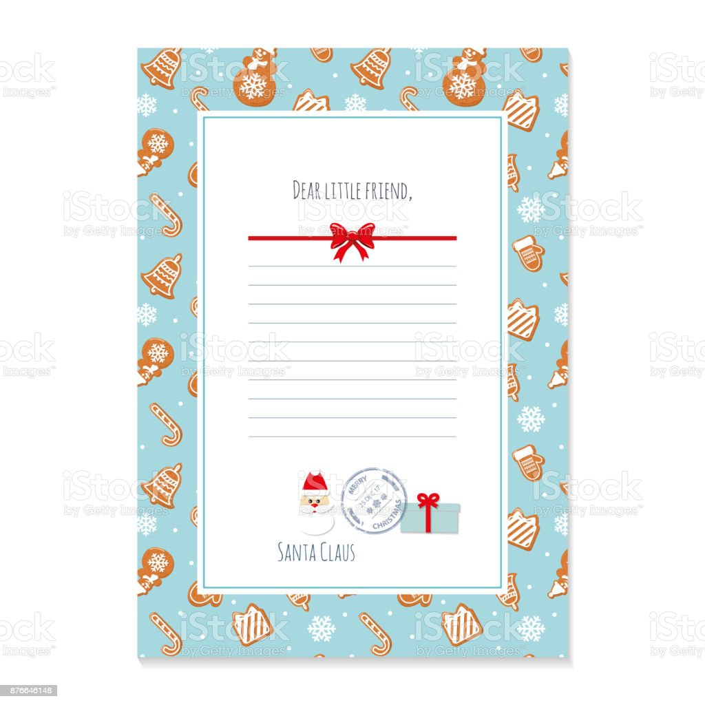 Christmas Letter From Santa Claus Template Layout In A4 Size Pattern