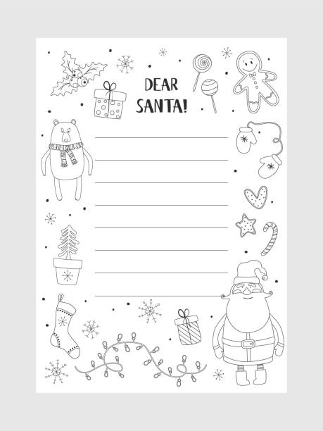 Christmas letter from Santa Claus template. Christmas letter from Santa Claus template. layout in A4 size. Cartoon Christmas wish christmas items. Coloring page. A letter to Santa Claus template. Christmas background with a place for Christmas gifts for Santa wish list. Vector illustration. coloring book pages templates stock illustrations