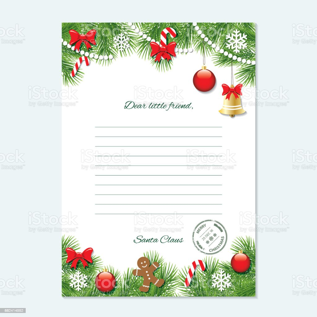 Christmas Letter From Santa Claus Template Stock Vector Art More