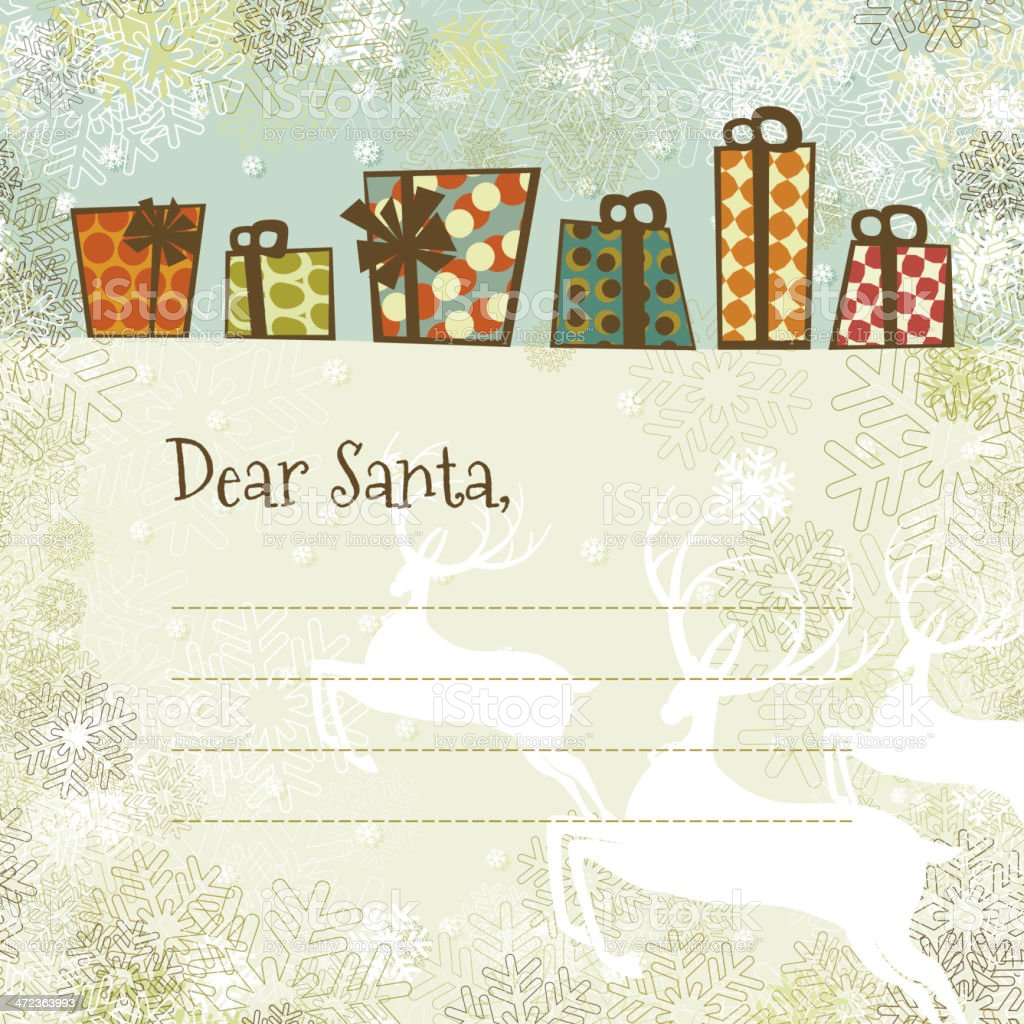 Christmas Letter Santa Gifts Background Copy Space Stock Vector Art