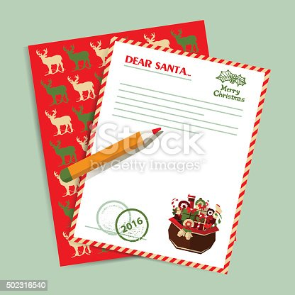 Christmas letter to Santa Claus. Gifts and deers