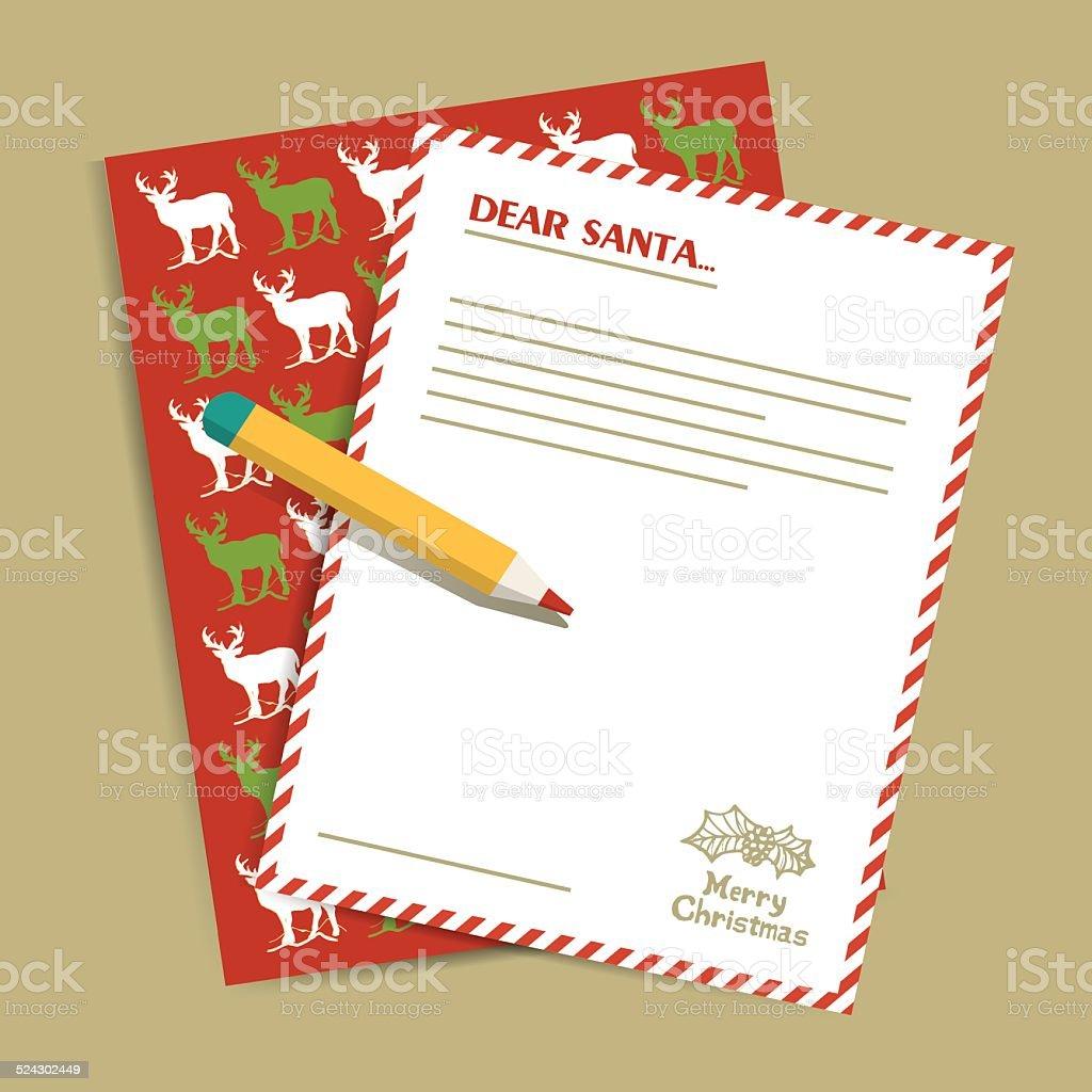 Weihnachten Brief An Den Weihnachtsmann Vektorillustration Stock