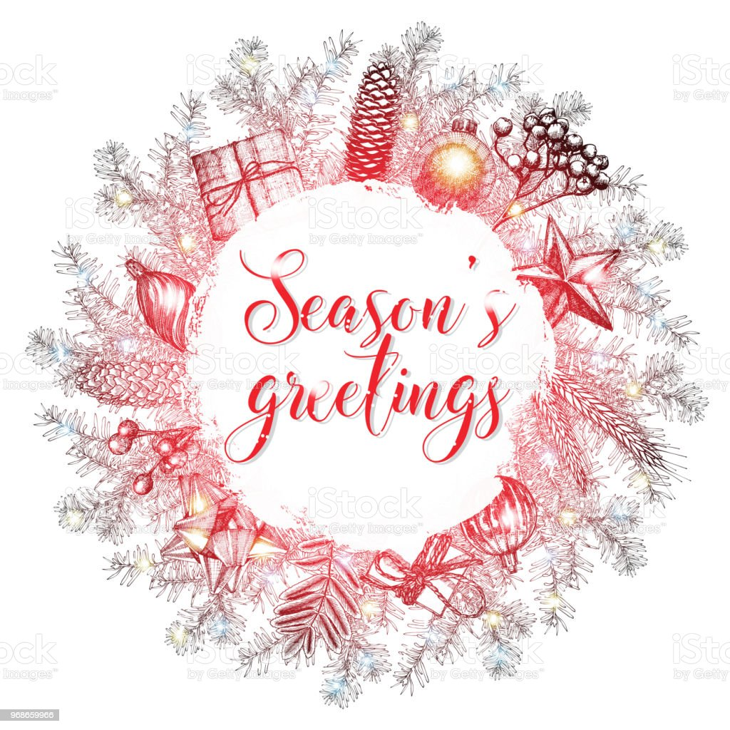 Christmas lettering and calligraphy design seasons greetings christmas lettering and calligraphy design seasons greetings handwritten phrase in xmas wreath frame modern m4hsunfo