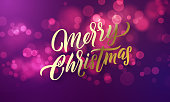 Christmas lettering and Xmas holiday sparkling flares background. Vector Merry Christmas greeting card