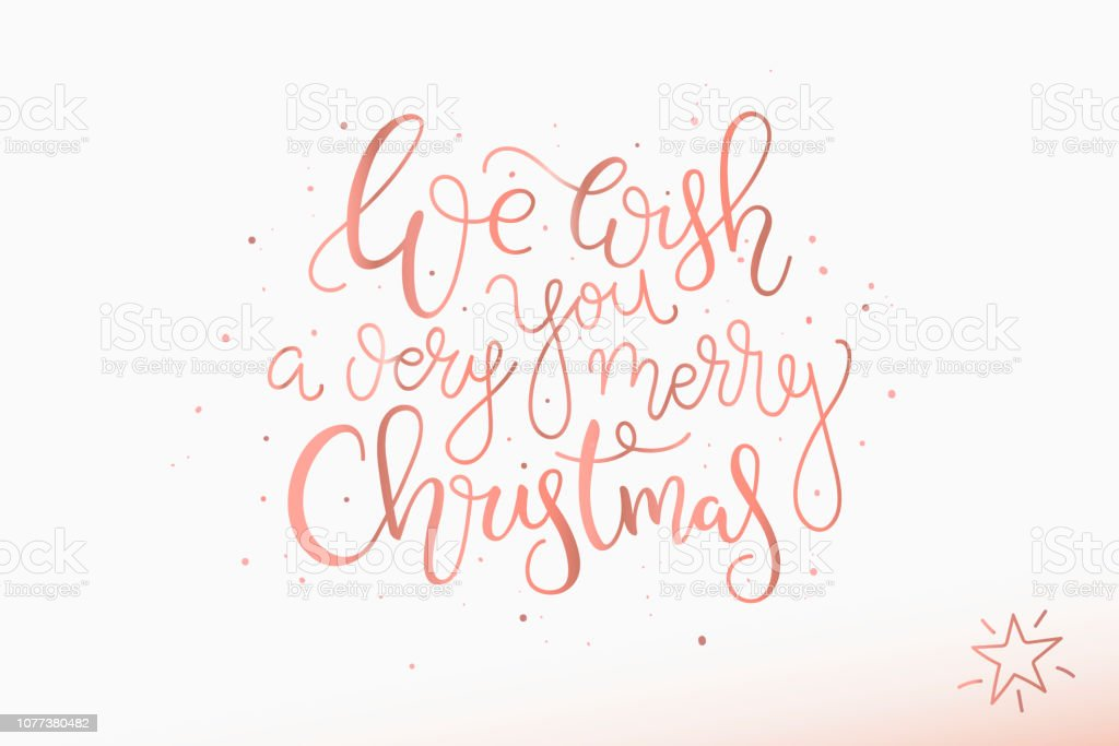 Merry Christmas In Cursive.Christmas Lettering Card Hand Drawn Design On White
