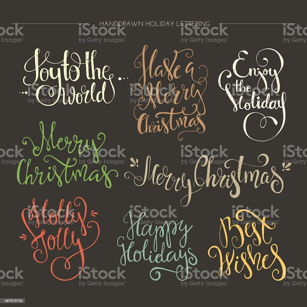 Christmas Lettering Collection vector art illustration