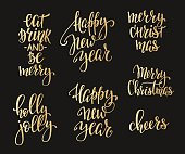 Christmas lettering typography set