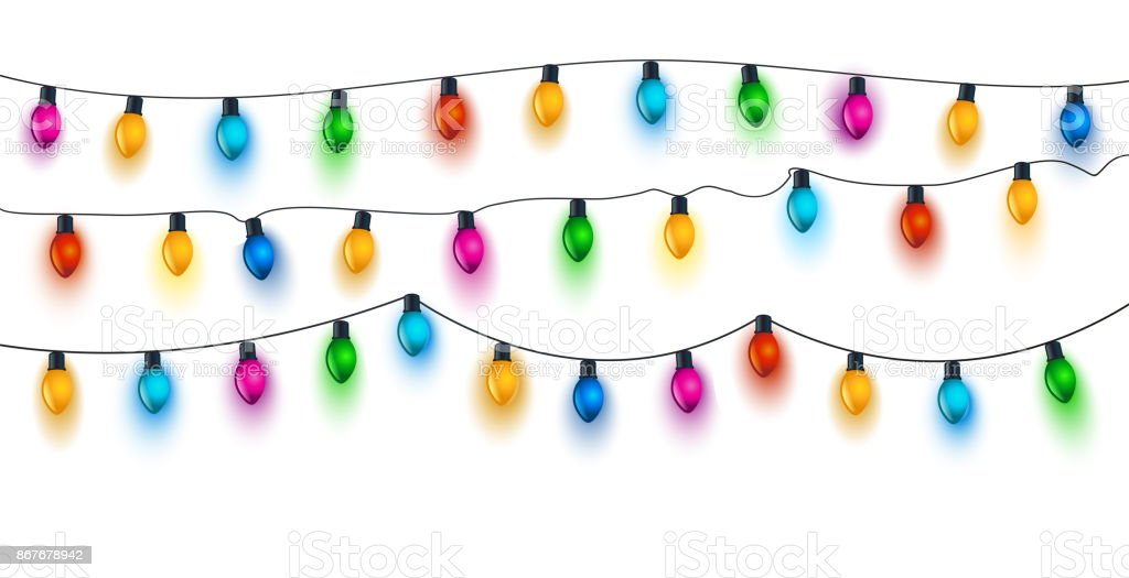 Bombillas de luz de Navidad en blanco - ilustración de arte vectorial