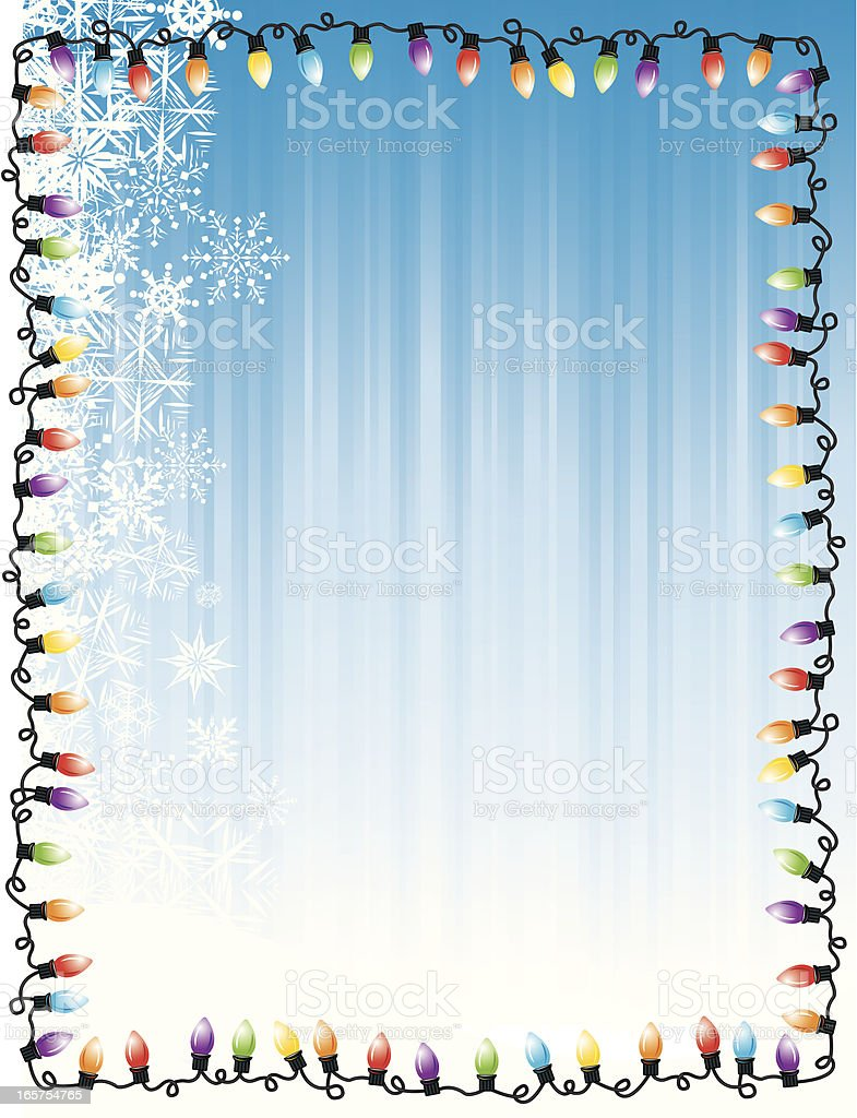 Christmas Light Frame with Snowflakes Background royalty-free christmas light frame with snowflakes background stock vector art & more images of backgrounds