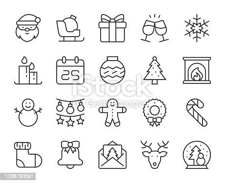 Christmas Light Line Icons Vector EPS File.
