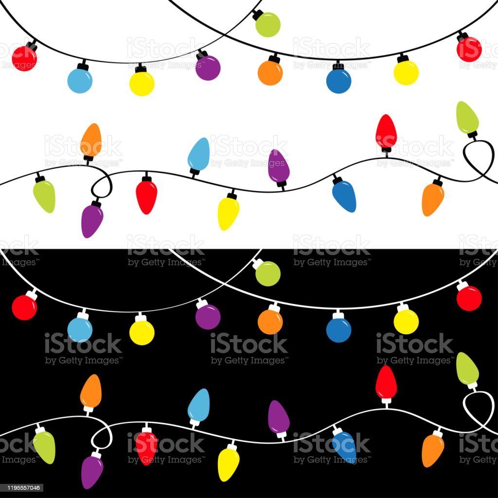 Christmas Light Set Holiday Festive Xmas Decoration Colorful String Fairy Lights Lightbulb Glowing Garland Template Rainbow Color Flat Design Black And White Background Isolated Stock Illustration Download Image Now Istock