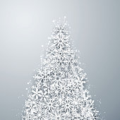 Light winter abstract fir tree. Christmas background with paper snowflakes. Vector.