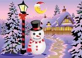Vector illustration of snow man beside the christmas light.