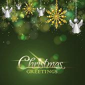 Christmas snowflake and angel metallic ornament.