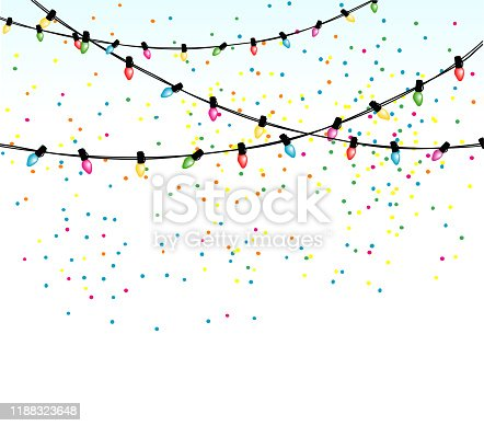 Old fashioned christmas lights and confetti falling against a white sky