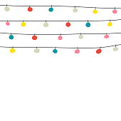 Vector illustration of a christmas greeting card with hand drawn christmas lights