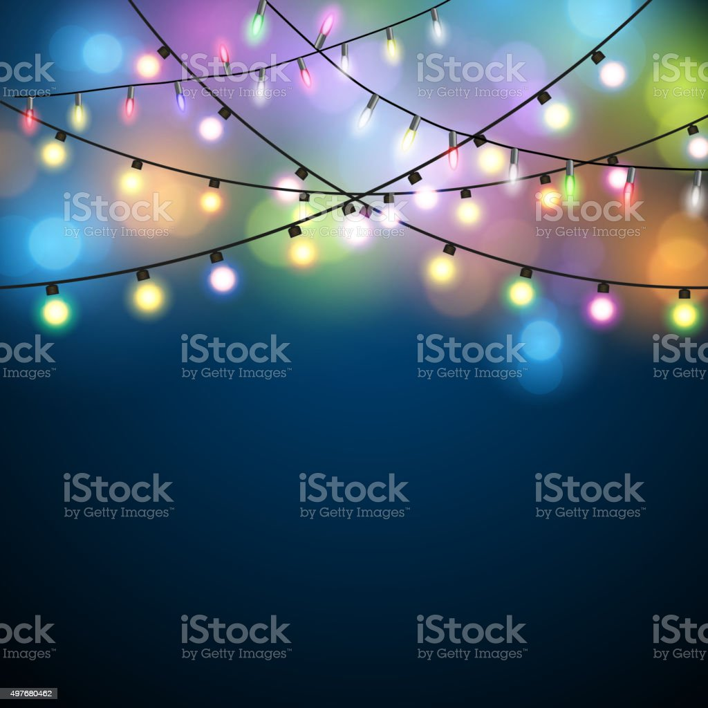 Christmas Lights Background. vector art illustration