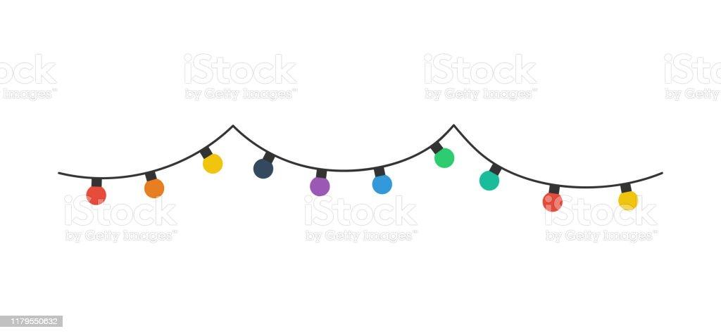 크리스마스 전구입니다. 흰색 배경에 고립 된 크리스마스 전구색상. 행에 크리스마스 전구. 벡터 - 로열티 프리 Political Party 벡터 아트