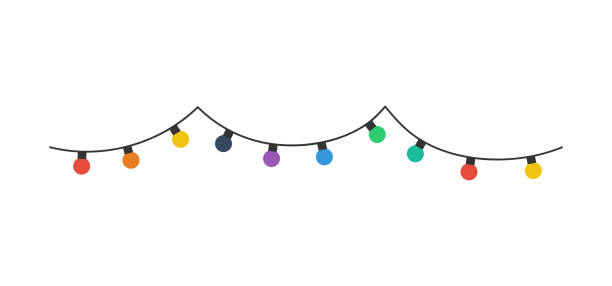 christmas lights bulbs. color christmas lights bulbs, isolated on white background. christmas lights bulbs in a row. vector - oświetlenie bożonarodzeniowe stock illustrations