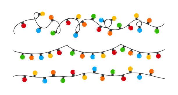 Christmas lights bulbs. Color garlands. Christmas illustration. Vector illustration Christmas lights bulbs. Color garlands. Christmas illustration. Vector illustration christmas lights stock illustrations