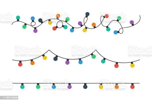 Żarówki Bożonarodzeniowe Kolorowe Żarówki Świąteczne Izolowane Na Białym Tle Kolorowe Girlandy Żarówki O Prostym Modnym Płaskim Designie Boże Narodzenie Illustrtation Ilustracja Wektora - Stockowe grafiki wektorowe i więcej obrazów Baner