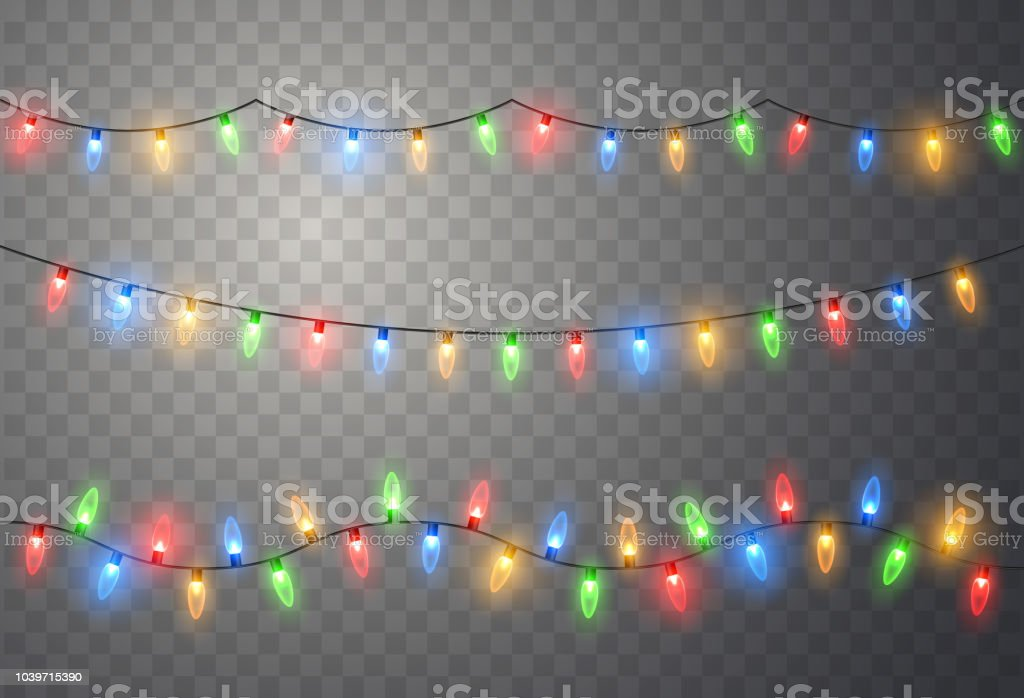 Christmas lights. Colorful bright Xmas garland. Vector red, yellow, blue and green glow light bulbs - Royalty-free Abstract stock vector