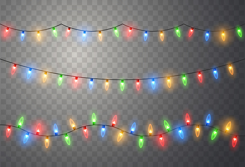 Christmas lights. Colorful bright Xmas garland. Vector red, yellow, blue and green glow light bulbs