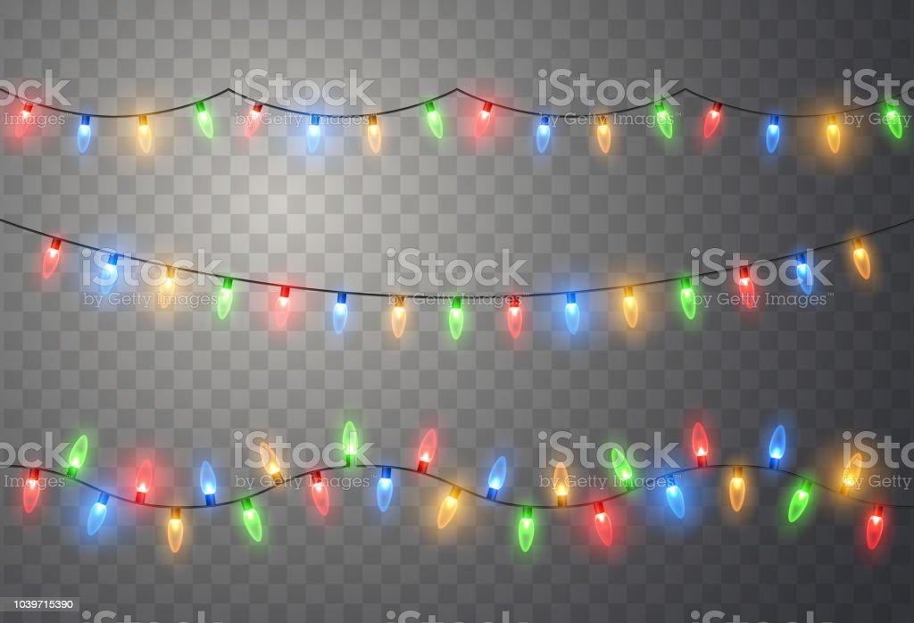 Kerstverlichting. Kleurrijke heldere Xmas garland. Vector rood, geel, blauw en groen gloed lampenvectorkunst illustratie