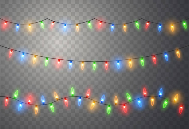 Christmas lights. Colorful bright Xmas garland. Vector red, yellow, blue and green glow light bulbs Christmas lights. Colorful bright Xmas garland. Vector red, yellow, blue and green glow light bulbs on wire strings isolated. holiday background stock illustrations