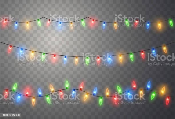 크리스마스 조명입니다 다채로운 밝은 크리스마스 화 환 벡터 빨강 노랑 파랑 및 녹색 형광 전구 갈란드-장식품에 대한 스톡 벡터 아트 및 기타 이미지
