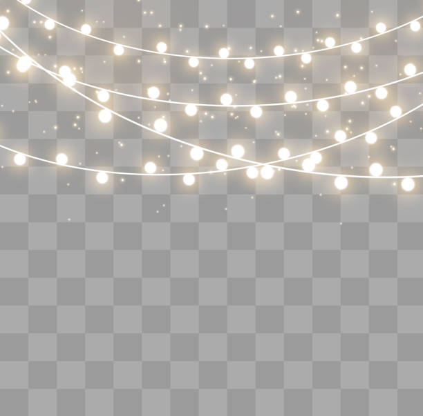Christmas lights effect Christmas lights isolated on transparent background. Xmas glowing garland. Vector illustration christmas lights stock illustrations