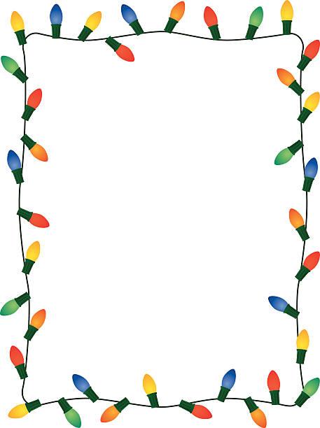 Christmas Lights Frame Vector illustration of a frame made of christmas lights. christmas lights stock illustrations