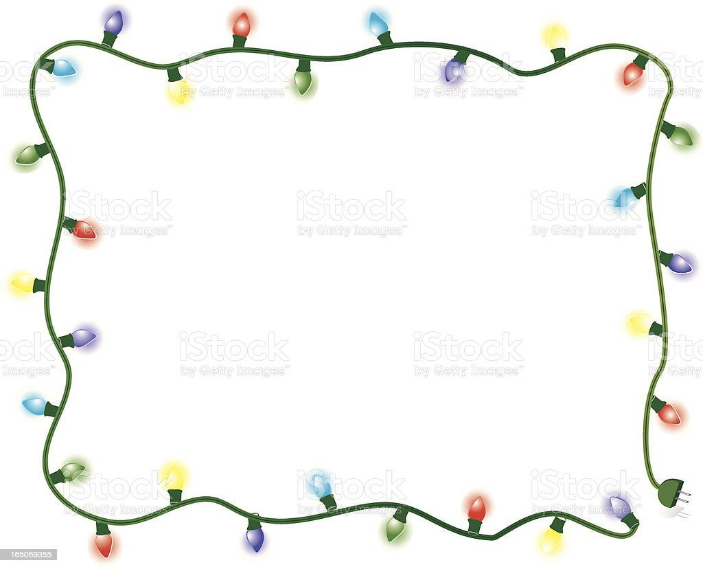 Christmas Lights Frame-Multicolored vector art illustration