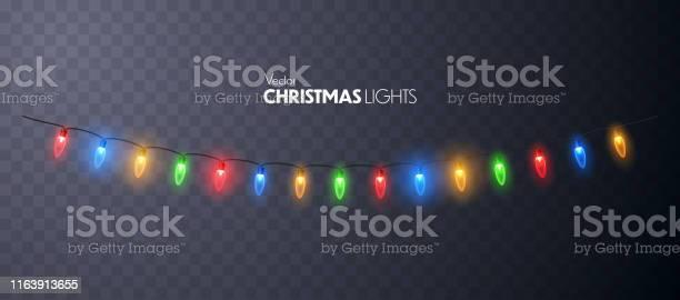크리스마스 조명 은 고립 화환 빛나는 갈란드-장식품에 대한 스톡 벡터 아트 및 기타 이미지