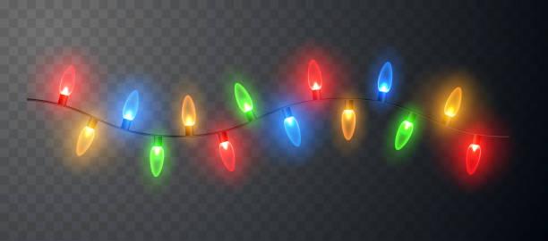 Christmas Lights glowing garland isolated. Christmas Lights glowing garland isolated. Vector illustration christmas lights stock illustrations